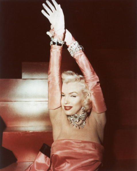<p>Marilyn Monroe had already become a megastar by the time <em>Gentlemen Prefer Blondes</em> debuted in theaters, but the actress took her luxe image to the next level with her diamond choker, bracelets and earrings.  </p>