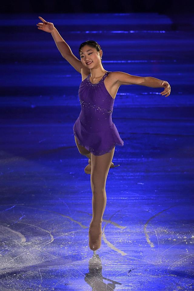 RIFU, JAPAN - NOVEMBER 25: Mirai Nagasu of the United States performs in the Gala Exhibition during day three of the ISU Grand Prix of Figure Skating NHK Trophy at Sekisui Heim Super Arena on November 25, 2012 in Rifu, Japan. (Photo by Kiyoshi Ota/Getty Images)
