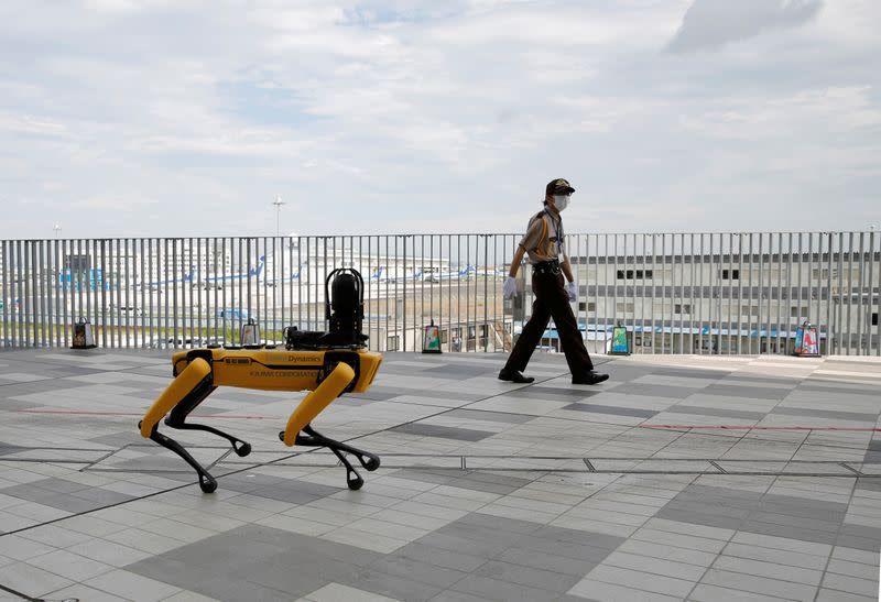 FILE PHOTO: Boston Dynamics' four-legged robot Spot at demonstration at Tokyo Robot Collection