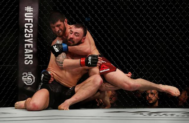 Ultimate Fighting Championship - UFC Fight Night - Paul Craig vs Magomed Ankalaev - O2 Arena, London, Britain - March 17, 2018 Paul Craig of Scotland (L) and Magomed Ankalaev of Russia (R) in action REUTERS/Matthew Childs