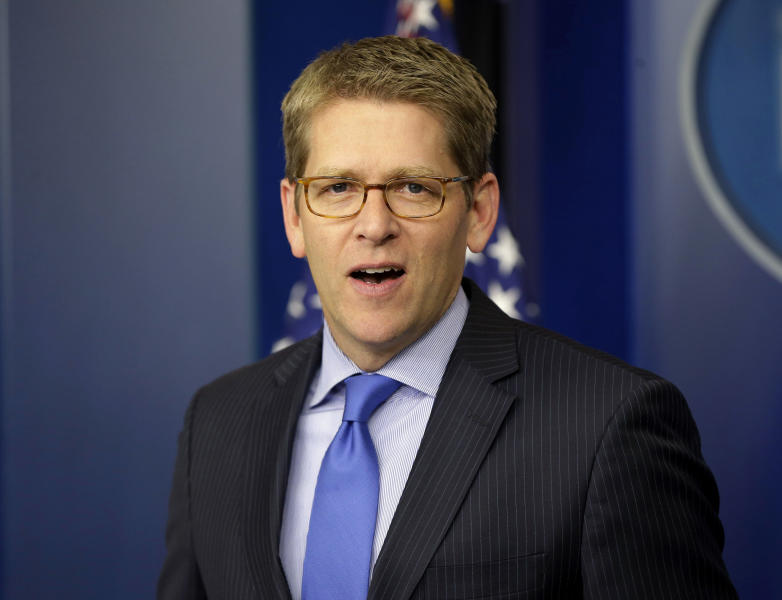 """In this Nov. 27, 2012, photo, White House press secretary Jay Carney speaks during his daily news briefing at the White House in Washington. Senate Democrats are deeply divided over whether cuts to popular benefit programs like Medicare and Medicaid should be part of a plan to address the nation's financial problems, raising a big obstacle to an agreement to avoid the fiscal cliff, even if Republicans agree to raise taxes. Much of the focus during budget negotiations has centered on whether congressional Republicans would agree to raise taxes in exchange for spending cuts. """"It is the president's position that when we're talking about a broad, balanced approach to dealing with our fiscal challenges, that that includes dealing with entitlements,"""" Carney said Tuesday. (AP Photo/Pablo Martinez Monsivais)"""
