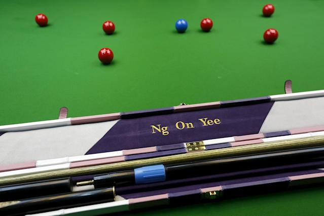 The name of Ng On-yee, 25, 2015 Ladies World Snooker Championship winner, is seen on a cue box in Hong Kong, China January 27, 2016. A decade after taking up the sport because she liked her father's outfit, Hong Kong's Ng On Yee finds herself on the brink of snooker history as she embarks on a mission to reach the main draw of the men's world championships. Picture taken January 27, 2016. REUTERS/Bobby Yip