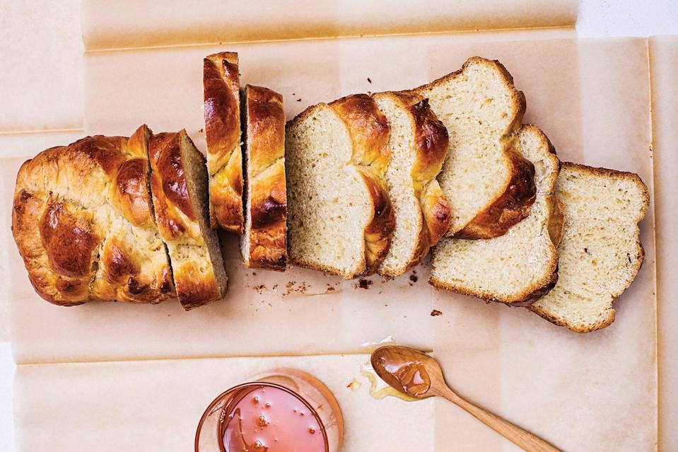 "Make it as a whole loaf or turn it into rolls; any way you bake it, it's a winner, and you can use this method to create all sorts of variations. <a href=""https://www.epicurious.com/recipes/food/views/honey-brioche?mbid=synd_yahoo_rss"" rel=""nofollow noopener"" target=""_blank"" data-ylk=""slk:See recipe."" class=""link rapid-noclick-resp"">See recipe.</a>"