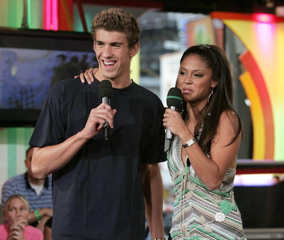 <p>Michael Phelps' celebrity status jumped up a notch after he cinched Olympic glory in Athens. The swimmer appeared on MTV's <em>TRL</em> with Vanessa Milano in 2004.  </p>