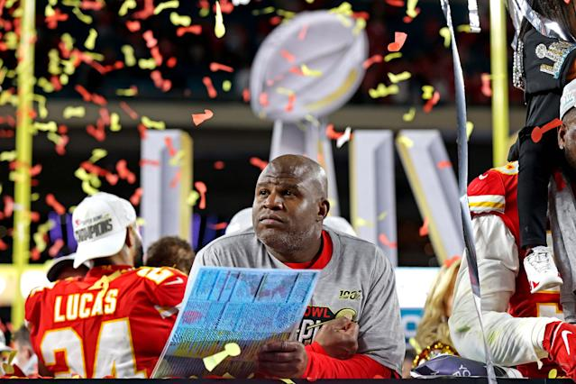 Feb 2, 2020; Miami Gardens, Florida, USA; Kansas City Chiefs offensive coordinator Eric Bieniemy? reacts after beating the San Francisco 49ers in Super Bowl LIV at Hard Rock Stadium. Mandatory Credit: Matthew Emmons-USA TODAY Sports