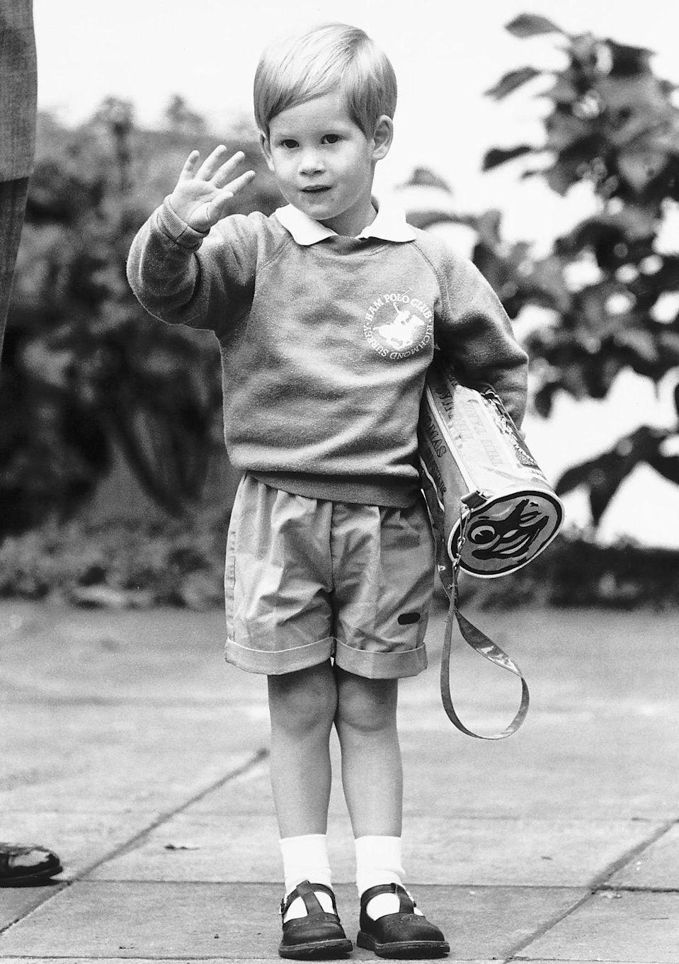 <p>Prince Harry followed in the footsteps of his brother and sported his own pair of baggy shorts on his way to nursery school in 1987. Please note his <em>Thomas the Tank Engine</em> backpack.</p>