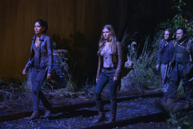 """Kashmir"" Episode 109 -- Pictured: (l-r) Daniella Alonso as Nora Clayton, Tracy Spiridakos as Charlie Matheson"