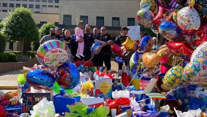 Drive thru birthday party for a boy, who survived after being thrown into the Cross Lake bridge by his mother on September 24. Source: Caddo Parish Sherriff's Office