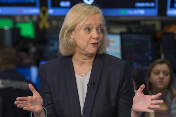 Meg Whitman, Chief Executive Officer of Hewlett-Packard gives an interview to CNBC on the floor of the New York Stock Exchange November 2, 2015. (REUTERS/Brendan McDermid)