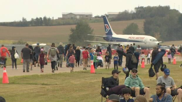 For those who were able to get into the Alberta International Airshow Saturday, there was a lot to see, including civilian and military aerial performers. (Nathan Gross/CBC - image credit)