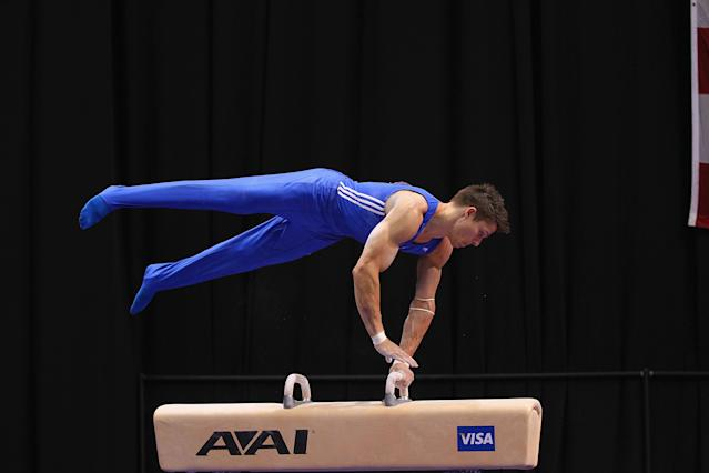 ST. LOUIS, MO - JUNE 7: Chris Brooks competes on the pummel horse during the Senior Men's competition on day one of the Visa Championships at Chaifetz Arena on June 7, 2012 in St. Louis, Missouri. (Photo by Dilip Vishwanat/Getty Images)