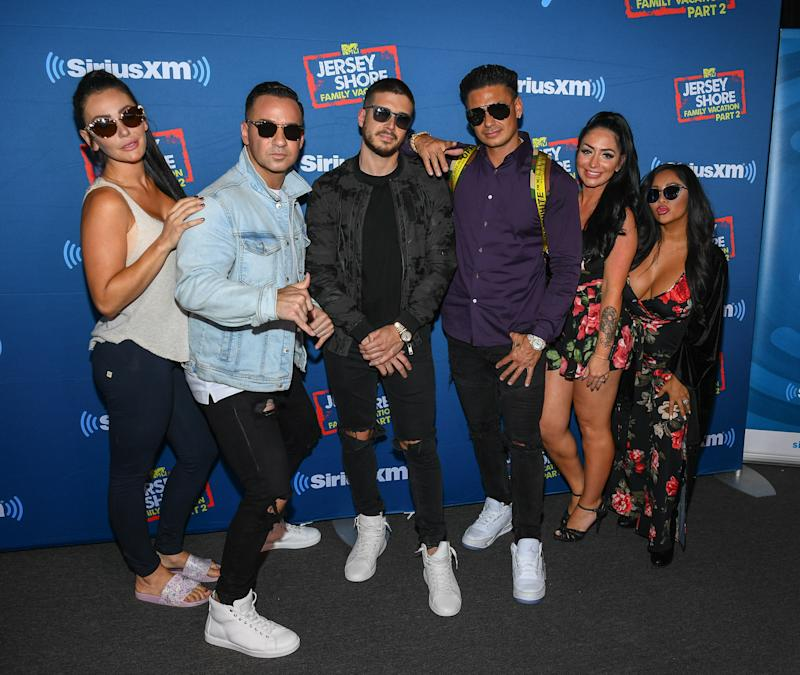 POINT PLEASANT BEACH, NJ - AUGUST 23: Mike 'The Situation' Sorrentino, Paul DelVecchio aka Pauly D, Nicole 'Snooki' Polizzi, Vinny Guadagnino, Jenni Farley aka JWoww and Angelina Pivarnick attend Jenny McCarthy's 'Inner Circle' Series On Her SiriusXM Show 'The Jenny McCarthy Show' With The Cast Of MTV's Jersey Shore Family Reunion Part 2 on August 23, 2018 in Point Pleasant Beach City. (Photo by Dave Kotinsky/Getty Images for SiriusXM)