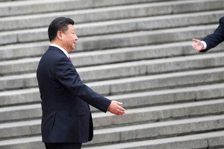 China's President Xi Jinping attends a welcoming ceremony in Beijing
