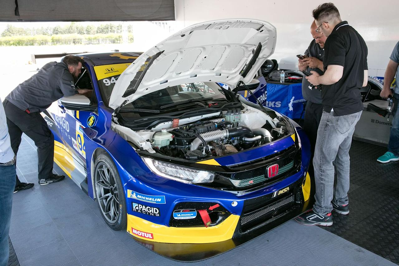 <p>The engine utilizes stock internals with a larger turbocharger turbine, a custom exhaust, a lightweight flywheel, and an ECU tune that combine for 340 horsepower, 34 ponies more than a stock Type R.  </p>