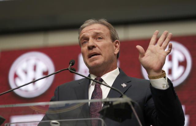 Texas A&M head coach Jimbo Fisher has his work cut out for him in his first month on the job. (AP)