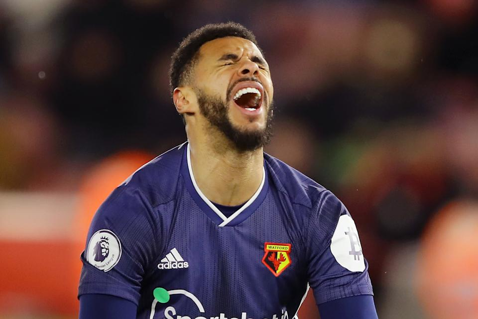 SOUTHAMPTON, ENGLAND - NOVEMBER 30:  Andre Gray of Watford reacts during the Premier League match between Southampton FC and Watford FC at St Mary's Stadium on November 30, 2019 in Southampton, United Kingdom. (Photo by Richard Heathcote/Getty Images)