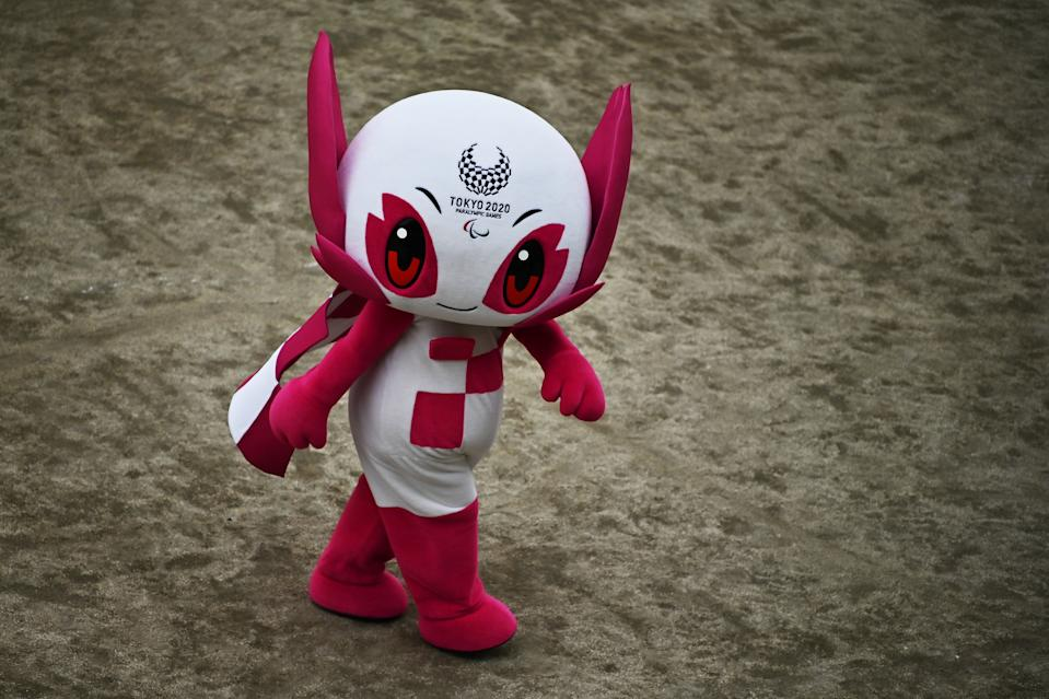"""Tokyo 2020 Paralympic Games mascot """"Someity"""" is seen an event marking six months till the Tokyo 2020 Paralympic Games in Tokyo on February 25, 2020. (Photo by CHARLY TRIBALLEAU / AFP) (Photo by CHARLY TRIBALLEAU/AFP via Getty Images)"""