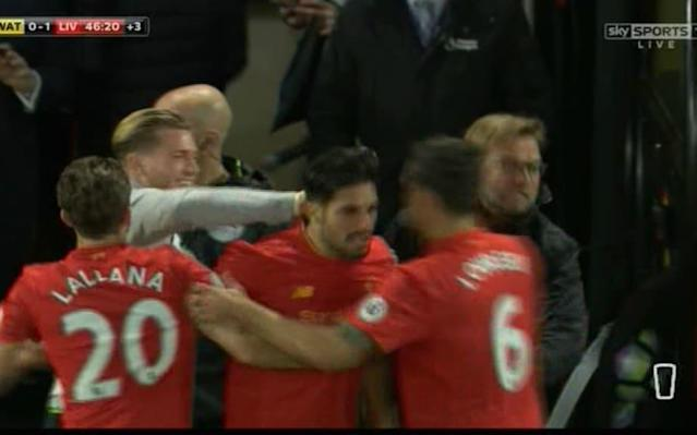 <span>Joy: Can, Klopp and co celebrate</span> <span>Credit: Sky </span>
