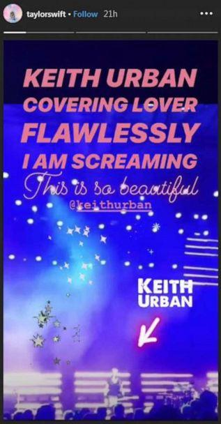 PHOTO: Taylor Swift shared Keith Urban's cover of her hit song 'Lover' on Instagram stories. (Instagram/Taylor Swift)