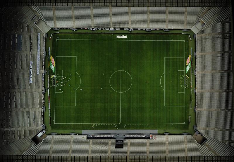 SAO PAULO, BRAZIL - JULY 22: Aerial view during a match between Corinthians and Palmeiras as part of Campeonato Paulista at Arena Corinthians stadium on July 22, 2020 in Sao Paulo, Brazil. The match is played behind closed doors and further precautionary measures against the coronavirus (COVID - 19) Pandemic. (Photo by Alexandre Schneider/Getty Images)