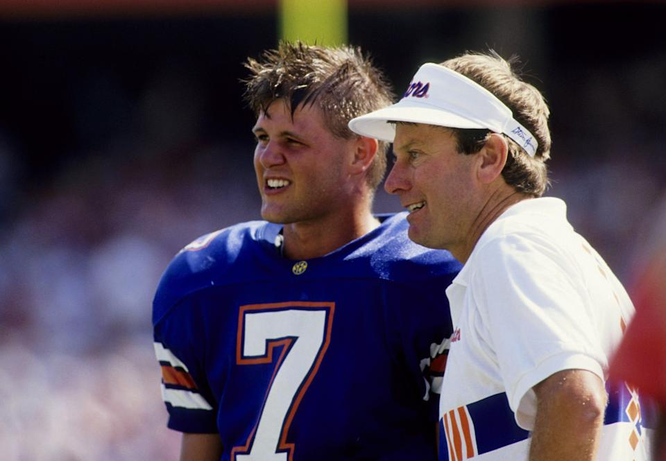 Florida coach Steve Spurrier (right) and quarterback Danny Wuerffel (7) talk on the sidelines during the 1995 season. (USA TODAY Sports)