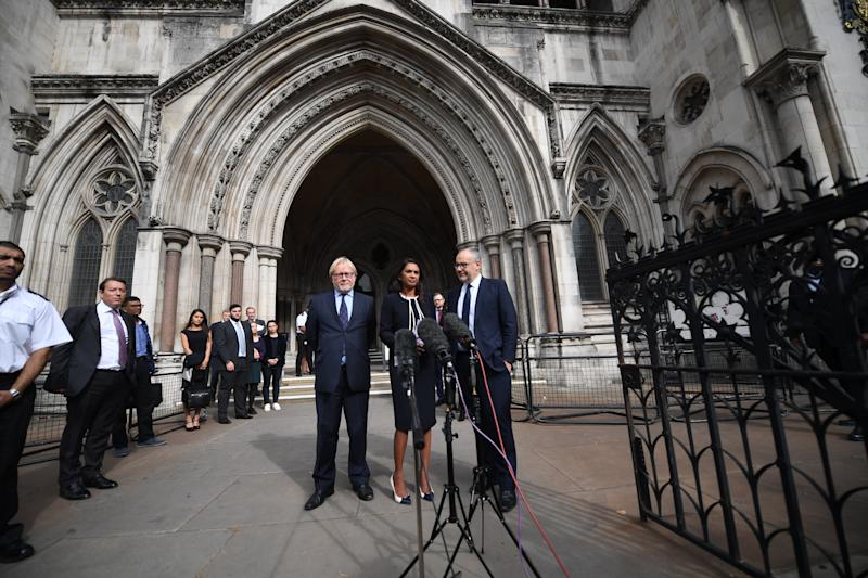 LONDON, ENGLAND - SEPTEMBER 05: Gina Miller speaks outside the Royal Courts of Justice after judges at the High Court rejected her legal challenge, but gave her permission to appeal at the Supreme Court, on September 5, 2019 in London, England. The High Court is hearing a legal challenge brought by former Conservative Prime Minister John Major and Article 50 campaigner Gina Miller challenging current Prime Minister Boris Johnson's planend prorogation of parliament. (Photo by Chris J Ratcliffe/Getty Images)