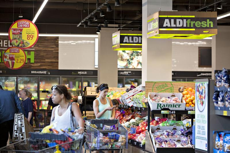 Aldi shoppers browse in Chicago, Illinois.