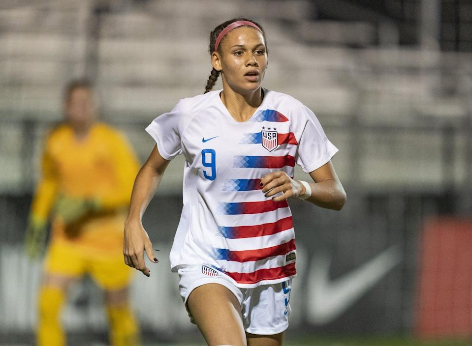 LAKELAND RANCH, FL - DECEMBER 13: Trinity Rodman #9 of the United States sprints during a game between France and USWNT U-20 Blue at Premier Sports Campus on December 13, 2019 in Lakeland Ranch, Florida. (Photo by Brad Smith/ISI Photos/Getty Images)