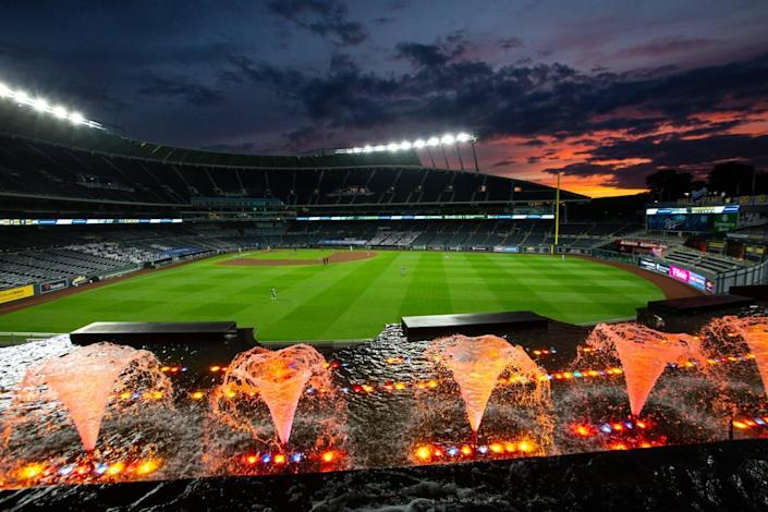 An empty Kauffman Stadium didn't stop the fountains from flowing Friday night in the home opener for the Kansas City Royals on July 31, 2020.