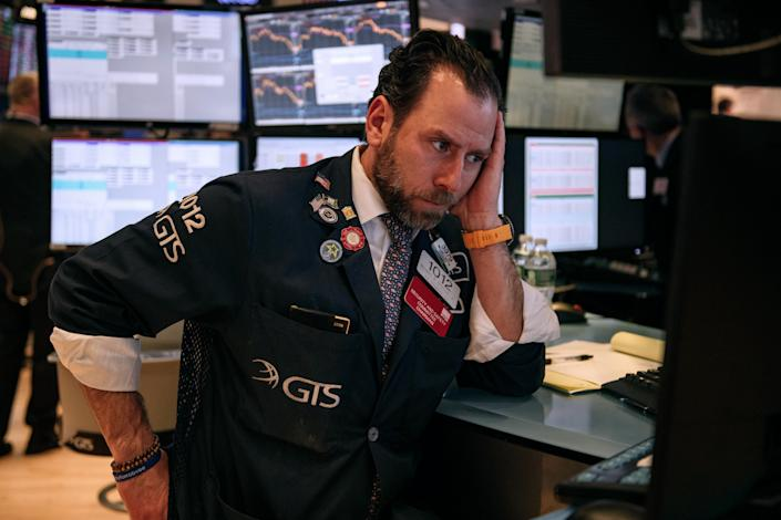 NEW YORK, NY - FEBRUARY 27: Traders work on the floor of the New York Stock Exchange on February 27, 2020 in New York City. With concerns growing about how the coronavirus might affect the economy, stocks fell for the fourth straight day. The Dow Jones Industrial Average lost almost 1200 points on Thursday. (Photo by Scott Heins/Getty Images)