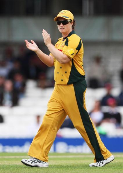 LONDON, ENGLAND - JUNE 19: Karen Rolton of Australia encourages her team during the ICC Women's World Twenty20 Semi Final between England and Australia at the Brit Oval on June 19, 2009 in London, England.  (Photo by Hamish Blair/Getty Images)