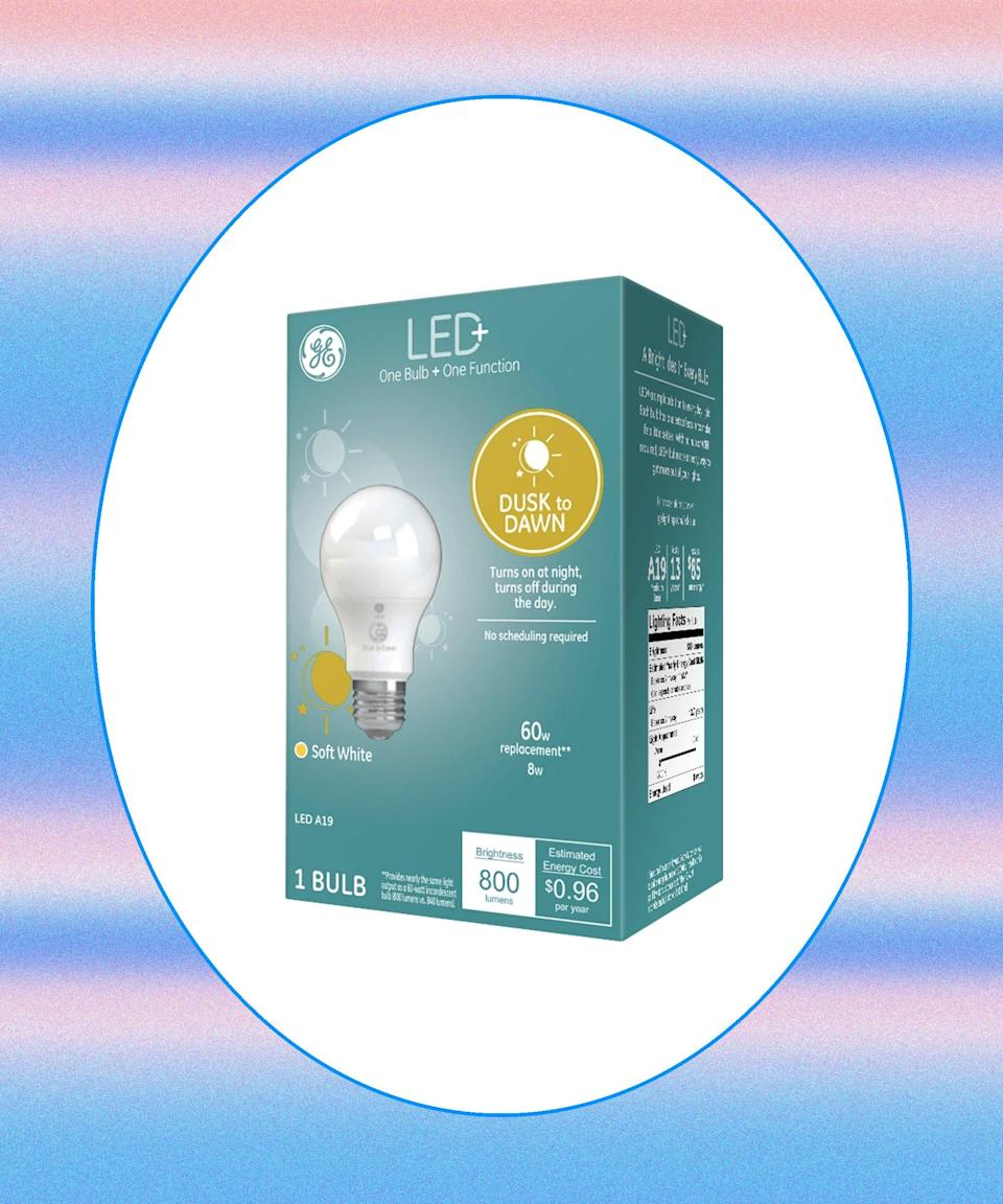 """<h2>LED+ Dusk to Dawn Lightbulbs</h2>Keep would-be snoopers or intruders at bay with these automatically activated light fixtures. With the built-in sensors, GE's Dusk to Dawn light bulbs trigger on after dark and switch off once the sun rises. <br><br><strong>GE Lighting</strong> LED+ Dusk to Dawn 100-Watt Lightbulb, $, available at <a href=""""https://www.amazon.com/dp/B086L1TPHS?tag=price18858-20&ascsubtag=wtbs_606321e8eb81ff3ebba073d2"""" rel=""""nofollow noopener"""" target=""""_blank"""" data-ylk=""""slk:Amazon"""" class=""""link rapid-noclick-resp"""">Amazon</a>"""