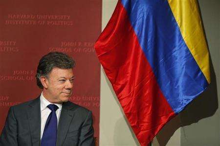 Colombian President Juan Manuel Santos waits to speak at the Kennedy School of Government at Harvard University in Cambridge