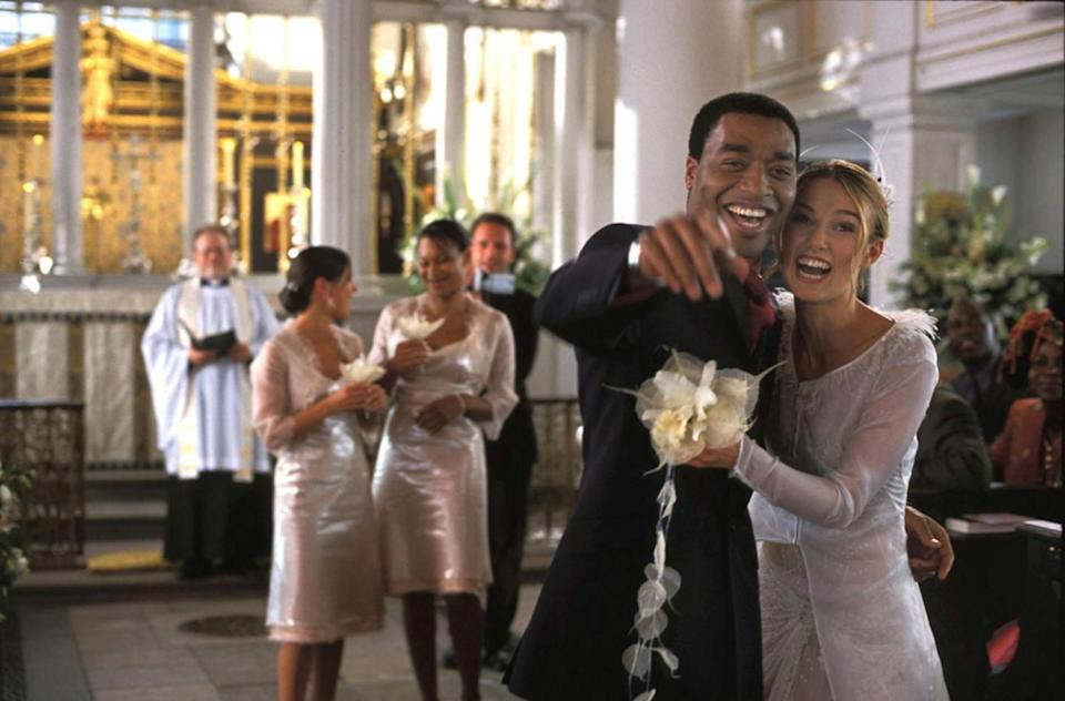 Shocking: Keira Knightley as married woman Julie with new husband Peter (Chiwetel Ejiofor) in Love Actually
