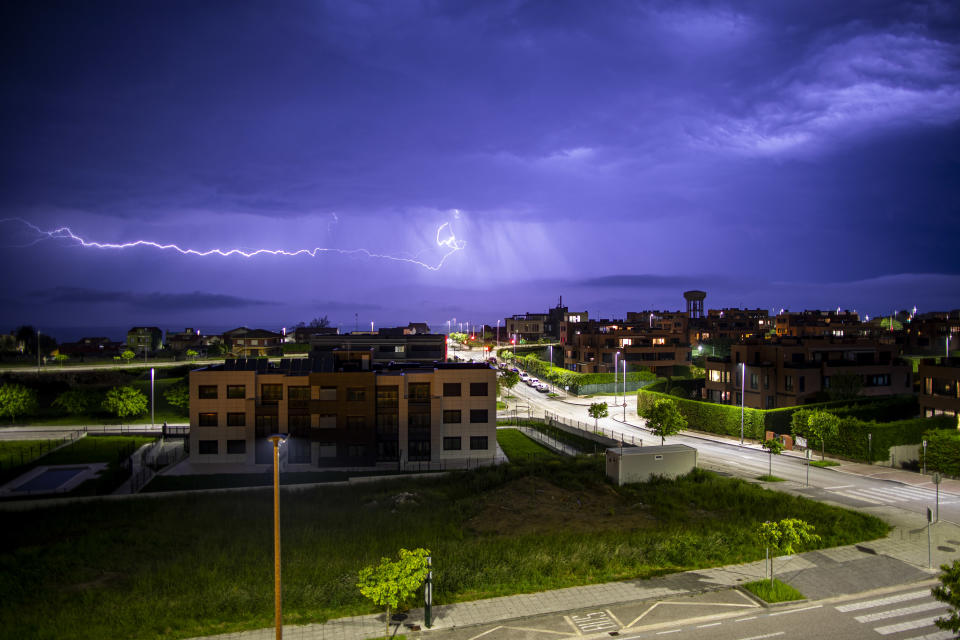 SANTANDER, SPAIN - MAY 08: An electrical storm is seen above the city of Santander on May 8, 2020 in Santander, Spain. (Photo by David S.  Soccrates Images/Getty Images)