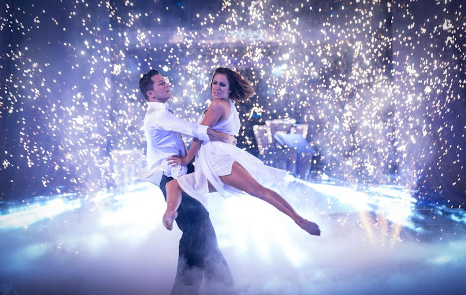 Pasha Kovalev and Caroline Flack dancing in the 'Strictly 2014' final. (BBC)