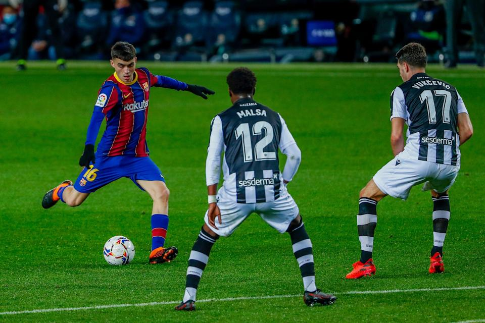 Spain youngster Pedri in action for Barcelona (AP)