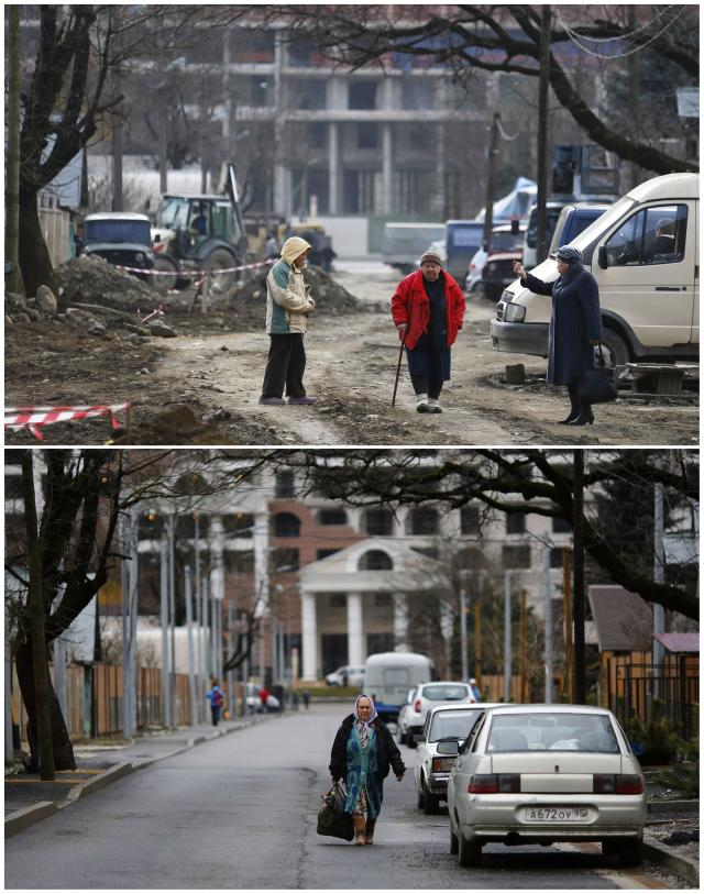 A combination of two pictures shows the development of construction within the last eleven months in the village of Krasnaya Polyana near Sochi, January 30, 2014. Picture on the top was shot in February 2013. Sochi will host the 2014 Winter Olympic Games from February 7 to 23. REUTERS/Kai Pfaffenbach (RUSSIA - Tags: BUSINESS CONSTRUCTION SPORT OLYMPICS)