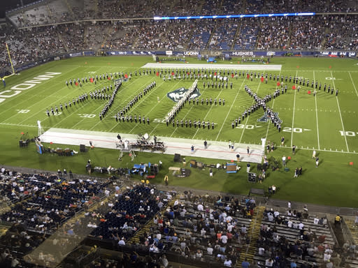 Alex Schachter, who was killed in the February shooting at Marjory Stoneman Douglas High School, was honored by the UConn marching band, which spelled out his name during its halftime show in its season opener against Central Florida on Thursday night. (AP Photo/Pat Eaton Robb)