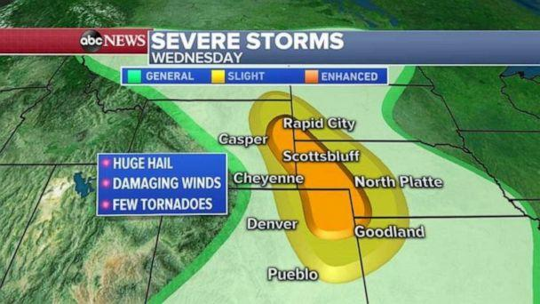 PHOTO: Severe storms moved through the Plains and the Southeast Wednesday. (ABC News)