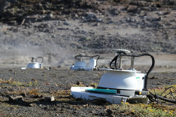 Automated accumulation chambers help measure carbon dioxide escaping through soils at the Solfatara Plateau Thermal Area, Yellowstone National Park.