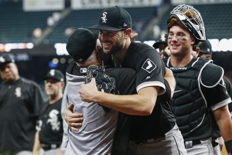 HOUSTON, TX - MAY 23: Lucas Giolito #27 of the Chicago White Sox celebrates with Rick Renteria #36 after the game against the Houston Astros at Minute Maid Park on May 23, 2019 in Houston, Texas. (Photo by Tim Warner/Getty Images)