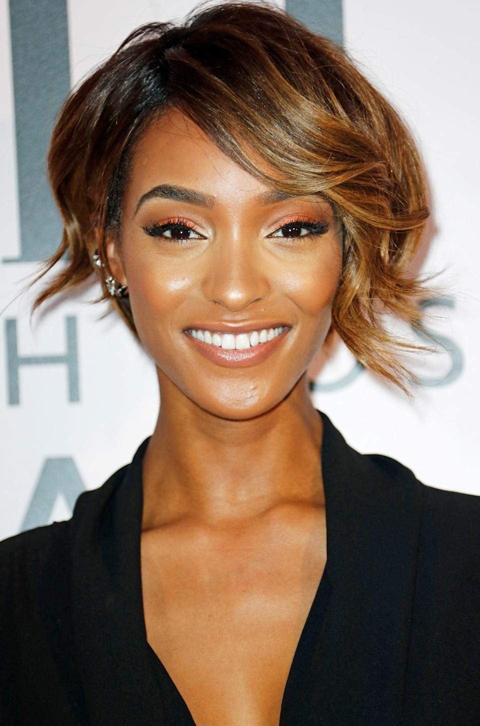 "Long in the front plus short in the back equals looks for days, as shown by Dunn's very versatile cut that's just a hint shorter than a <a href=""https://www.glamour.com/gallery/bob-haircuts-and-hairstyles?mbid=synd_yahoo_rss"" rel=""nofollow noopener"" target=""_blank"" data-ylk=""slk:bob"" class=""link rapid-noclick-resp"">bob</a> and longer than a traditional pixie cut."