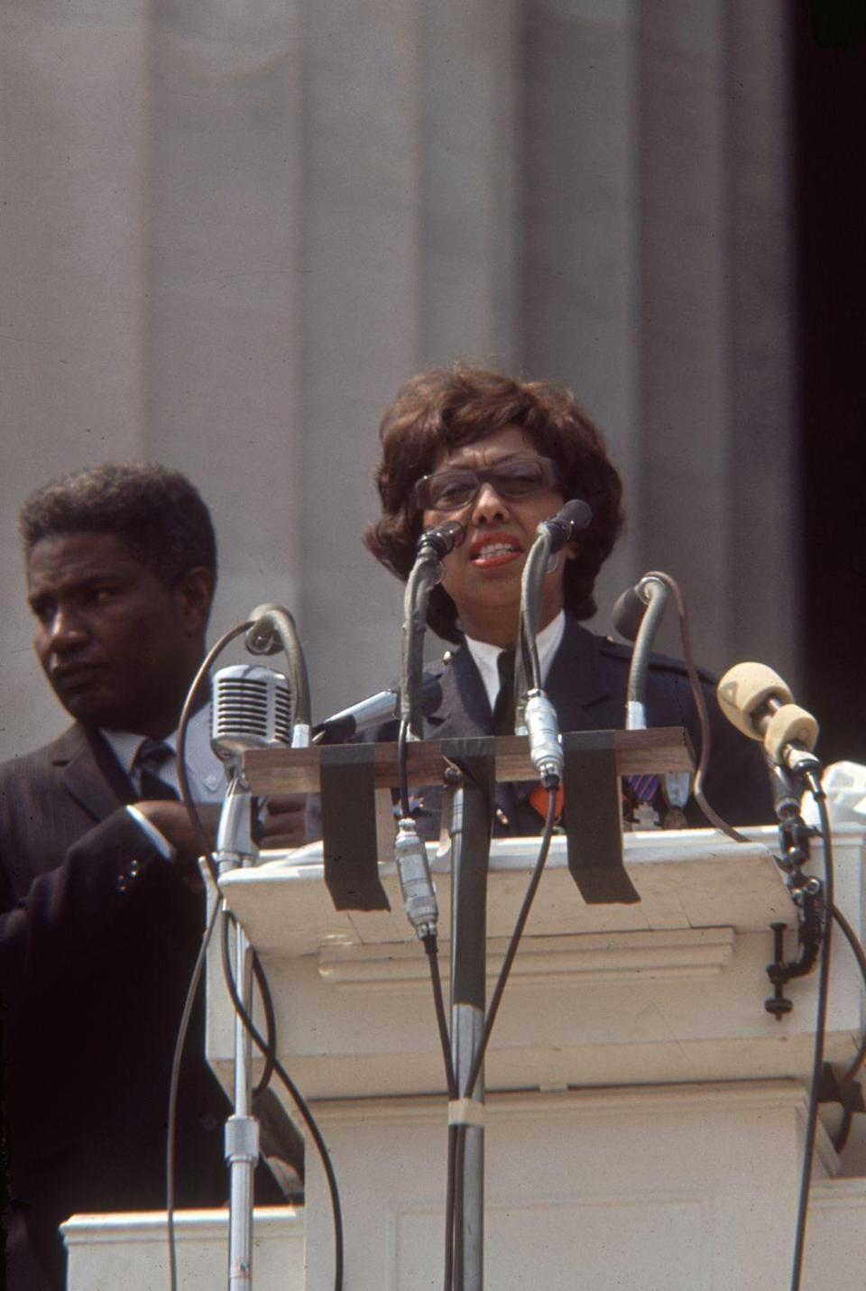 """<p>Baker venomously opposed segregation in the United States. In 1963, she joined Martin Luther King Jr. on the March on Washington and delivered a memorable speech to the crowd. She was the <a href=""""https://www.washingtonpost.com/lifestyle/style/march-on-washington-had-one-female-speaker-josephine-baker/2011/08/08/gIQAHqhBaJ_story.html"""" rel=""""nofollow noopener"""" target=""""_blank"""" data-ylk=""""slk:only woman who spoke"""" class=""""link rapid-noclick-resp"""">only woman who spoke</a> at the event. </p>"""
