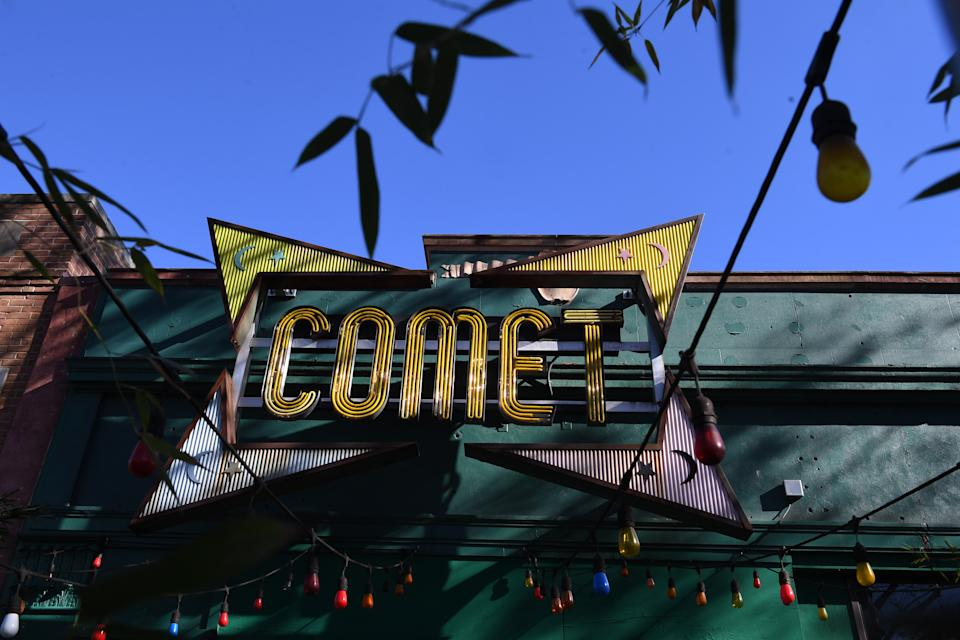 Comet Ping Pong, a pizzeria in Washington, D.C., is seen on Monday Dec. 5, 2016 after a man named Edgar Maddison Welch was arrested for opening fire inside the restaurant. The incident was linked to a series of fake news stories that have been dubbed 'Pizzagate'. (Matt McClain/The Washington Post via Getty Images)