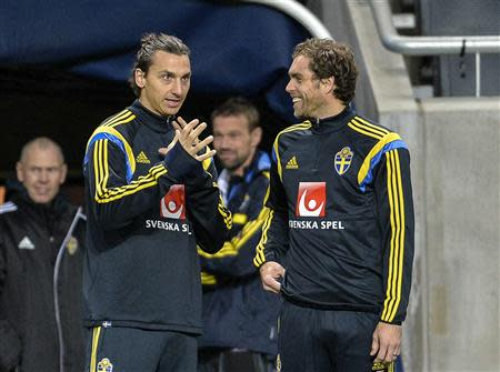 Sweden's Zlatan Ibrahimovic (L) talks to teammate Johan Elmander during a soccer training session at Friends Arena in Stockholm November 13, 2013. REUTERS/Anders Wiklund/TT News Agency