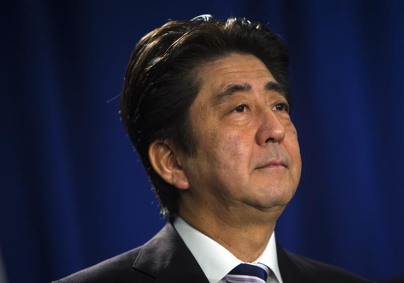 Japanese Prime Minister Shinzo Abe speaks at a news conference in New York