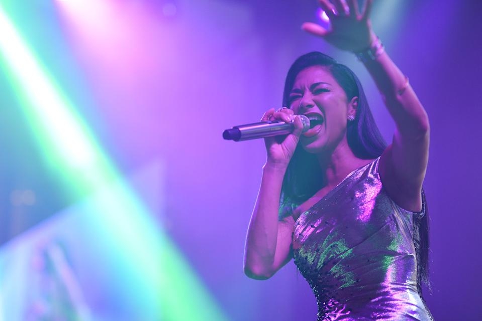 Nicole Scherzinger performs on stage during the amfAR Gala Hong Kong 2019 at the Rosewood Hong Kong on March 25, 2019 in Hong Kong, Hong Kong. (Photo by Edwin Koo/amfAR/Getty Images for amfAR)