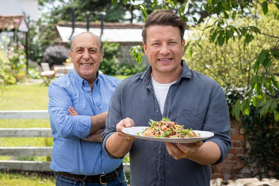 Jamie and Gennaro with Creamy Prawn Linguine - Jamie: Keep Cooking Family Favourites Ep4 (C4)