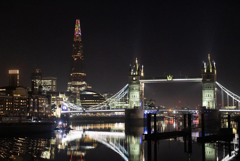 <p>The lights will be beamed across London every evening until December 11</p> (PA)